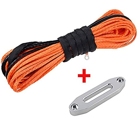 Synthetic Winch Line Rope Cable w/ Hawse Fairlead for Car UTV ATV SUV Pickup Truck (50' x 3/16