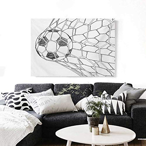 Soccer Canvas Wall Art Soccer Ball in Net Goaly Position Sports Competition Spectators Hand Drawn Style Print Paintings for Home Wall Office Decor 28