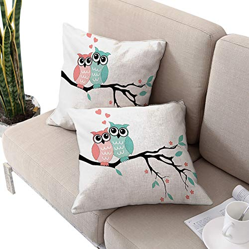 Alexandear Teal and White Square Lumbar Cushion Cover,Cute Owl Couple Sitting on Tree Branch Valentines Romance Love Turquoise Coral Black W20 xL20 2pcs Cushion Cases Pillowcases for Sofa Bedroom Car ()