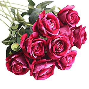 Mikilon Roses Artificial Flowers Fake Flowers Wedding Decorations Artificial Flora DIY Wedding Home Office Party Hotel Restaurant Patio Yard Decoration (Red Wine) 87