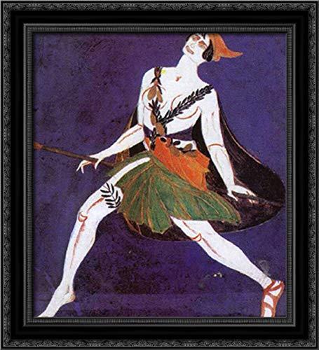 Costume Design for The Play Famira Kifared by Innokentiy Annenski. Maenad. 20x22 Black Ornate Wood Framed Canvas Art by Aleksandra Ekster