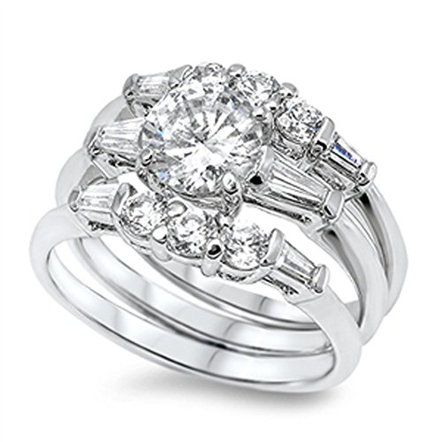 White CZ Unique Polished Wedding Ring Set .925 Sterling Silver Band Size 8