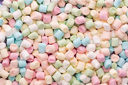 AOFOTO Vinyl 6x4ft Pastel Color Mini Marshmallows Background Fluffy Pink Candy Snack Dessert Newborn Infant Photography Backdrop Kids Child Baby Photoshoot Party Decorations Photo Studio Props
