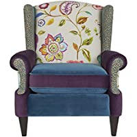 Jennifer Taylor Home 60070-798867 Anya Arm Chair Collection Wooden Legs Cotton Blend Removable Cushion Upholstered, Large, Multicolor