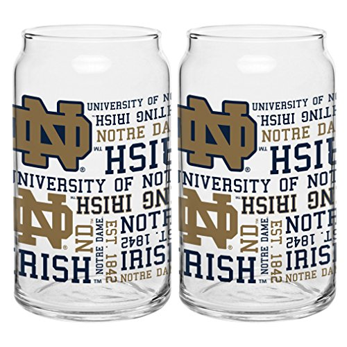 Notre Dame Gear (NCAA Notre Dame Fighting Irish Spirit Glass Can, 16-ounce, 2-Pack)