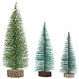 handrong 3pcs Mini Sisal Christmas Trees Artificial Snow Frost Pine Tree with Wood Base DIY Craft Ornaments for Home Birthday Party Festival Holiday Wedding Table Top Decorations (Green)