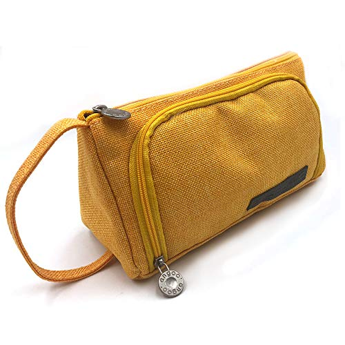 Large Capacity Pencil Case, Portable Zipper Closure Makeup Bag, Canvas Cell Phone Earphone Pouch (yellow)