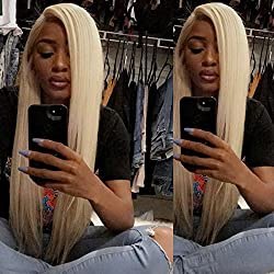 20inch Blonde Full Lace Wigs Human Hair pre plucked and Bleached Knots with Baby Hair 150% Density Full Lace Front Wigs 613 Blonde Color Human Hair For Black Women