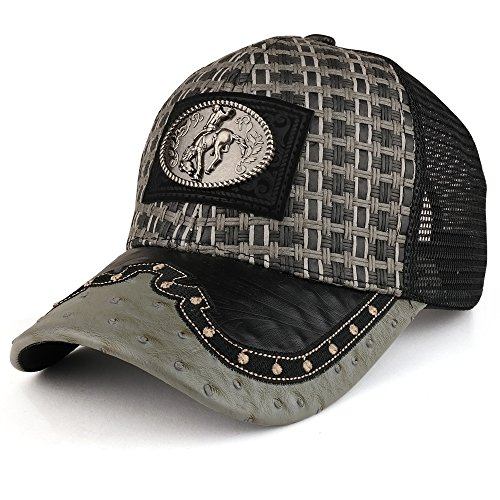 Trendy Apparel Shop Straw Design Metallic Rodeo Cowboy Horse Metal Logo Trucker Mesh Baseball Cap - Charcoal Black