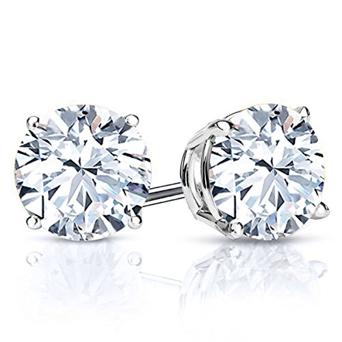 Gem Stone King White Topaz 925 Sterling Silver Stud Earrings 3.20 Ctw Round 7MM Gemstone -