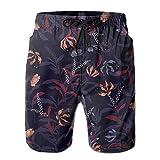 Mens Dark Rose Fishing Shorts Elastic Waist Quick Dry Board Shorts