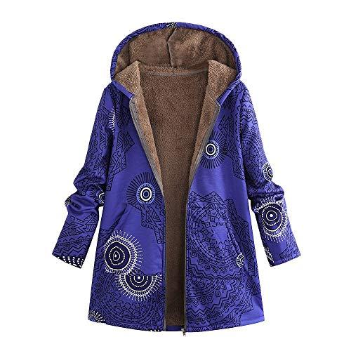 Women Winter Warm Outwear Floral Print Hooded Pockets Vintage Oversize Coats