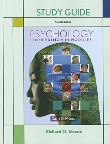 amazon com psychology in modules study guide 9781464108464 rh amazon com psychology david myers 10th edition study guide Myers Psychology Chapter 8 Review Learning