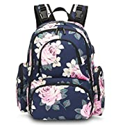 CoolBELL Baby Diaper Backpack Bag With Insulated Pockets/Water-resistant Baby Bag/Multi-functional Travel Knapsack With USB charging Port For Men/Women/Girls/Boys (Blue Peony)