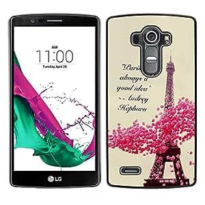 Caucho caso de Shell duro de la cubierta de accesorios de protección BY RAYDREAMMM - LG G4 - París Corazones primavera floral torre Eifel