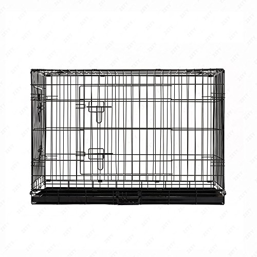 M.M 40″ 2-Door Portable Dog Pet Cage Black Collapsible Metal Crate Kennel House