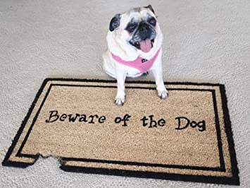 Kempf Beware Of The Dog Doormat, Rubber Backed, 18 By 30 By 0.5