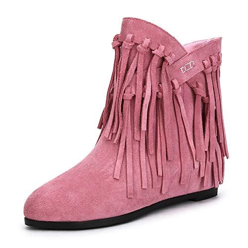 43 Women Ajouter Pink À Boots Plus Slip De Cuir Femme Hoesczs New 34 Fur On Franges Ankle Bottes En Daim Vachette Size BIUnfwq7
