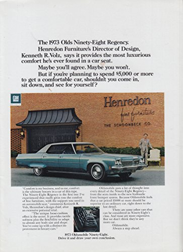 Henredon's Kenneth R Volz for Oldsmobile 98 regency ad 1973 (Henredon)
