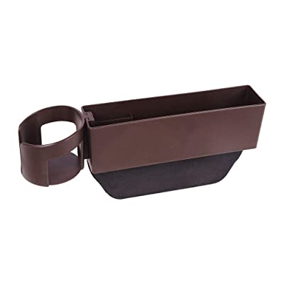 haimeimaoyi(US) HM Car Seat Gap Filler Brown Car Seat Side Pocket with Detachable Cup Holder and Cards Storage Zone, Car Seat Gap Catcher Filler for Both Driver Seat and Passenger Seat: Automotive