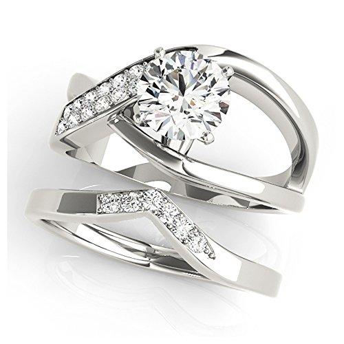 14K White Gold Unique Wedding Diamond Bridal Set Style MT51072
