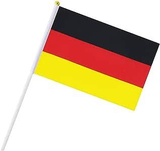 Alemania Palo de la Bandera de Alemania de la Mano Que agitan Banderas Mini Bandera Nacional de Mano 14 * 21 cm para la Oficina de excursiones Jardín desfiles Bar Escuela Deportes