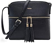 Lekesky Crossbody Bag and Purse for Women Leather Shoulder Bag with Tassel, Lightweight and Medium Cross Body