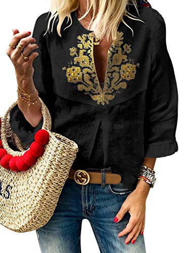 Dearlove Women's Tribal Printed V Neck Frill 3/4 Sleeve T-Shirt Tops Loose Casual Blouse Embroidered Shirts Black X-Large