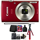 Canon PowerShot IXUS 185 / Elph 180 20MP Full HD Video Compact Digital Camera Red with 64GB Top Accessory Kit