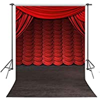 FUERMOR 5x7ft Stage Red Curtain Photography Backdrop Studio Photo Props A083