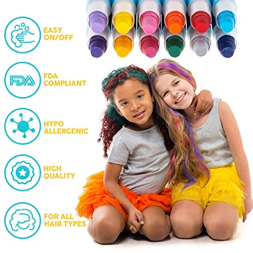 HAIR CHALK FOR GIRLS – & BOYS, 12 Temporary Hair Color for Kids, Vibrant & Washable Hair Dye Pens, Works on Dark or Blond Hair, Perfect Birthday Gift Set, Girls Hair Accessories Toy Crayons by Blue Squid (Image #2)