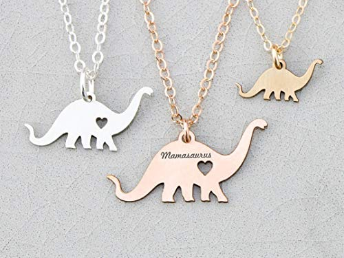 - Dinosaur Necklace - IBD - Dino Brontosaurus Brachiosaurus Plant Eater - Personalize with Name or Date - 935 Sterling Silver 14K Rose Gold Filled -Ships in 1 Business Day