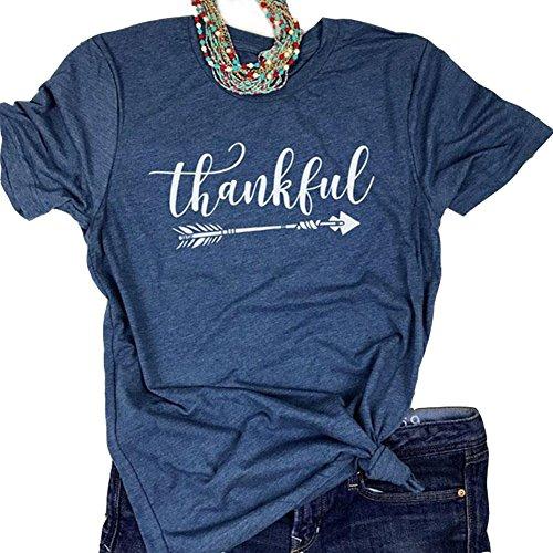 Pxmoda Women's Casual Letters Printed T-Shirt Short Sleeves Faith Over Fear Arrow Tee Tops (XL, Navy-Thankful)