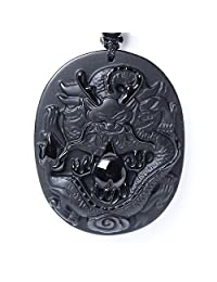 Chinese Zodiac Amulet / Talisman Pendant Necklace Made of Obsidian Gemstone: Horoscope Animal / Sign, Bella Jade