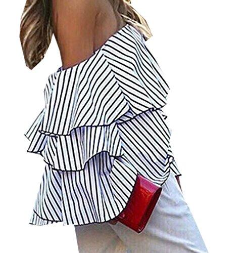 Damen Sommer T-shirt Mode Reizvolle Ein Wort Kragen Bandeau Top Schulterfreies Jumper Langarm Blouse Streifen Print Hemden Loose Freizeit Oberseiten Sommertop