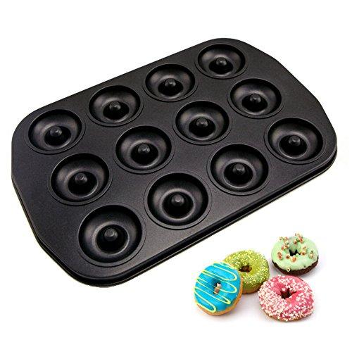Forvel 12-Cavity [Non-Stick] Metallic Small Donut Pan Bagel Baking Mold - Easy Home Chocolate Doughnut Maker by Forvel