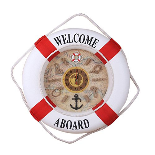 Chamomile. Wall Clocks - 35cm Wall Door Hanging Nautical Coast Life Buoy Ring Clock Plaque Decor Blue 1 PCs