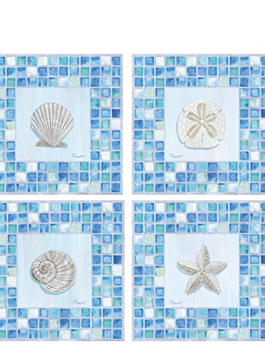 - Buyartforless Mosaic Sea Life Paul Brent Set of 4 8x8 Star Fish Scallop Sand Dollar Nautilus
