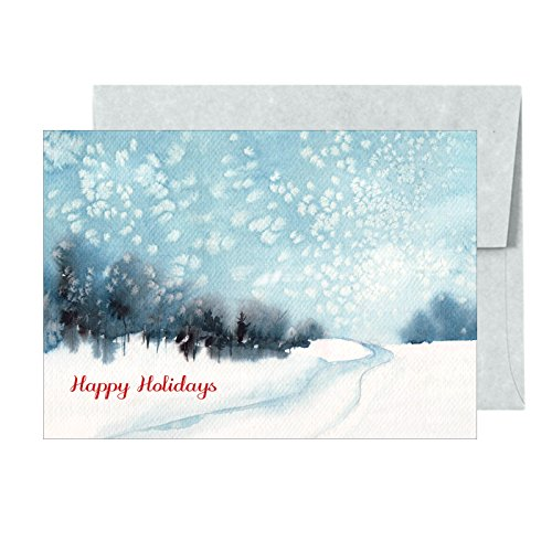 (Happy Holidays Snowy Road Home Premium Christmas Greeting Cards Set - 18 Cards and Matching Envelopes)