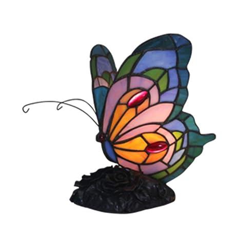 Tiffany Table Lamp Handicraft Alloy Base Rose Pattern Glass