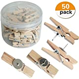 LIGONG 50 Pack Push Pins with Wooden Clips Thumbtacks Pushpins for Cork Board and Photo Wall Offices Home Schools Use