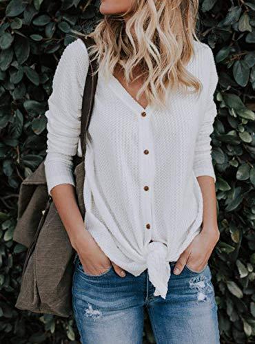 Longues Chandails Walant Tunique Irrgulier Blouse Cardigan Chauve Chemisier Lache Mode Blanc Tops Souris Shirt Noeud Manches tricots Dcontract V Femme Sweat Casual Col Boutons wzxwYr
