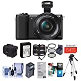 Sony Alpha A5100 Mirrorless Digital Camera with 16-50mm E-Mount Lens, Black - Bundle With Camera Case, 64GB SDXC Card, Spare Battery, Tripod, Filter Kit, Compact Charger, Software Package And More