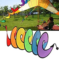 UNKE Rainbow Spiral Windmill Tent Colorful Wind Spinner Garden Home Decoration