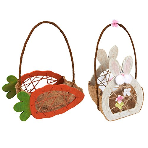 Juvale Easter Egg Baskets - 2-Count Mini Gathering Baskets f