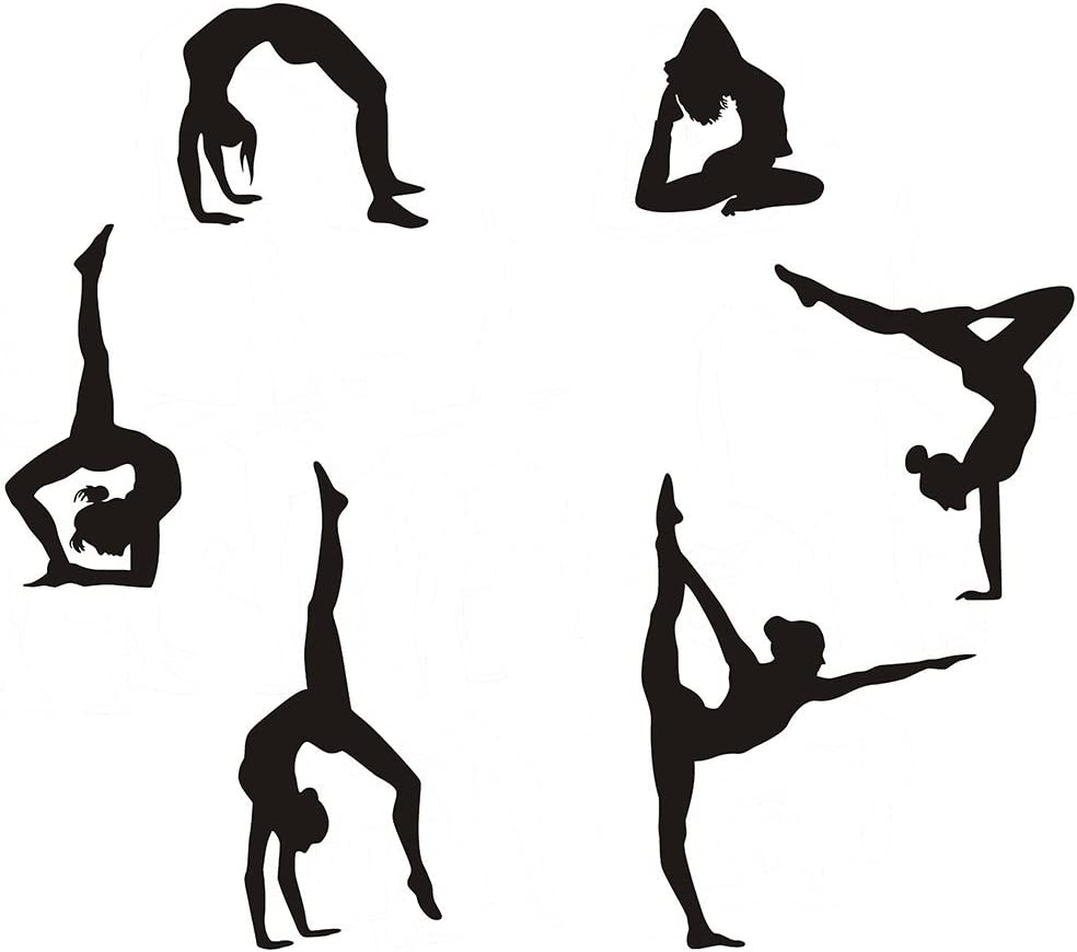 "Gymnastics Wall Decals Silhouettes Sport Art Girl Vinyl Decals Wall Sticker Fits Kids Room Decor Home Wall Decor Set of 6 (7.87""H X 23.62""W)"
