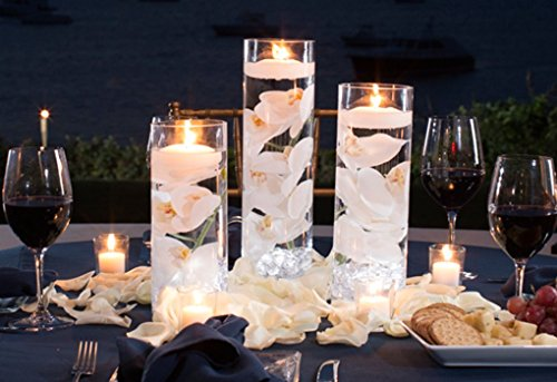 3 Glass Cylinder Vase Party Centerpiece|Elegant Wedding Decoration Idea|Formal Dining Table Decorative Set w/ Flower Petals, Floating Candles, LED Lights|for Graduations, Birthdays, Showers, (Cheap Graduation Centerpiece Ideas)