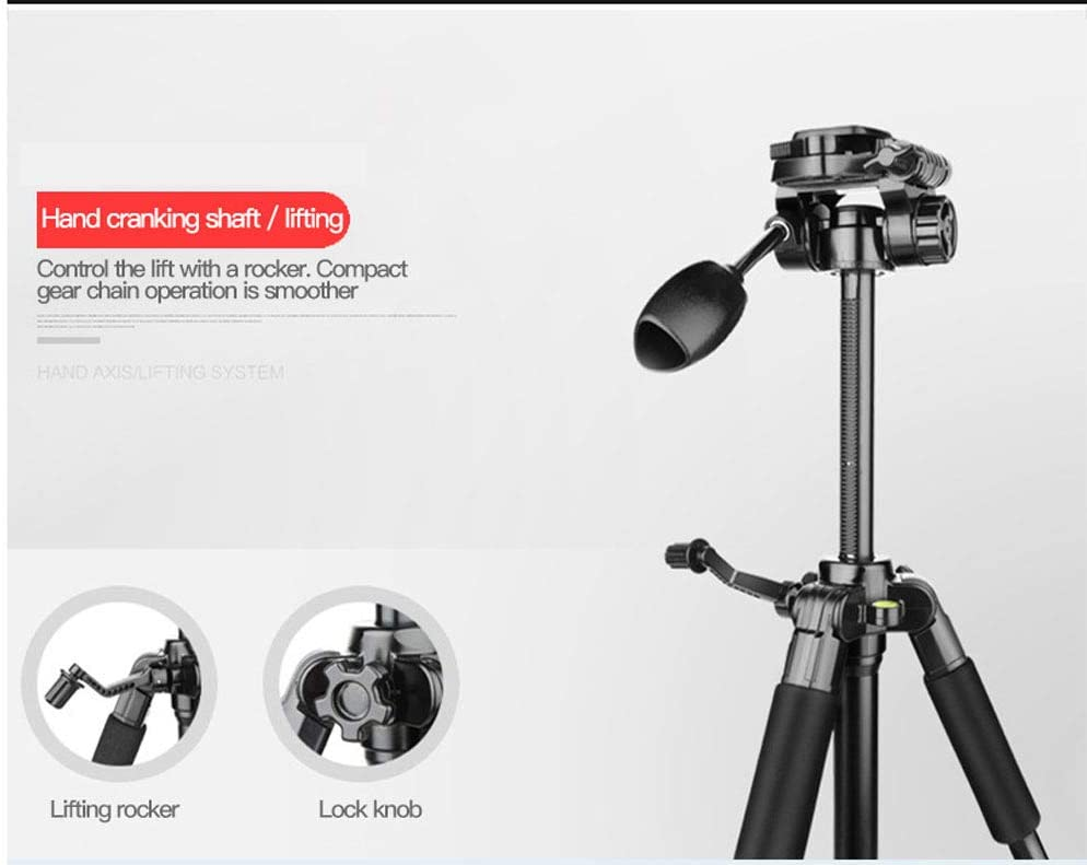 WXQP Camera Tripod,Travel Portable Aluminum Folding Monopod Height 146 cm Lightweight and Compact 6Kg Load with Carry Bag,Red