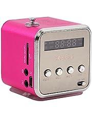 Mini Portable FM Radio Speaker, Digital Stereo MP3 MP4 Music Player Support TF Card USB Disk FM (粉色)