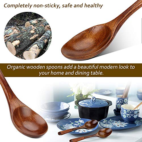 Wooden Spoon, 6 Pieces Wood Soup Spoons for Eating Mixing Stirring Cooking and Coffee, Mixing Forked for Salad Desserts, Chips, Snacks, Cereal, Fruit